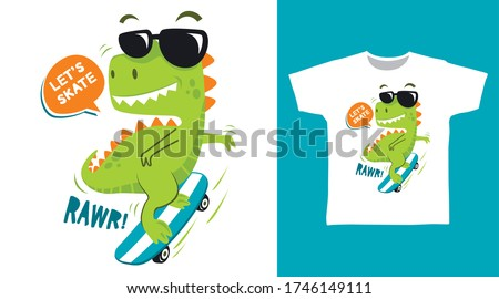 Cute dinosaur skate design vector illustration ready for print on t-shirt
