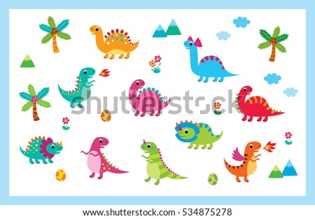cute dinosaur vector collection