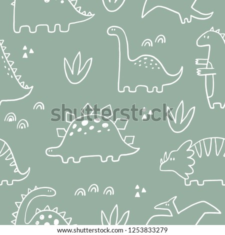 Cute dinosaur vector print for kids. Vector print  with cartoon dinosaur.  Cute Dino pastel print for party decor. Seamless pattern