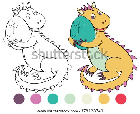 Cute Dinosaur With Green Egg Coloring Book Black And White Outline Great Illustration