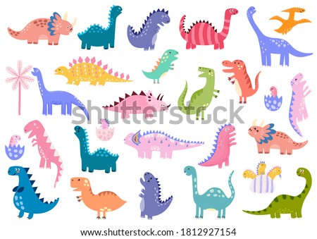 Cute dinosaurs big bundle. Dino set. Collection with Tyrannosaurus rex, Stegosaurus, Pterosaurs, Triceratops and more. Baby dinos in eggs. Vector illustration