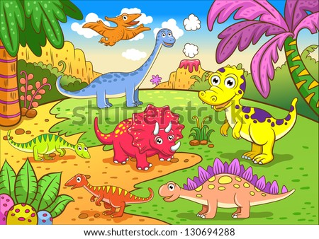 Cute dinosaurs in prehistoric scene EPS8 File - simple Gradients, no Effects, no mesh, no Transparencies. All in separate  group and layer for easy editing