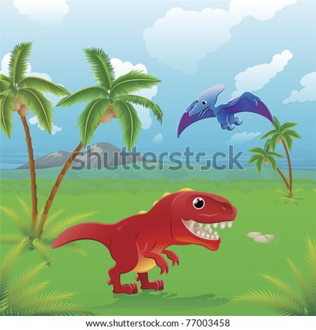 Cute dinosaurs in prehistoric scene. Series of three illustrations that can be used separately or side by side to form panoramic landscape.