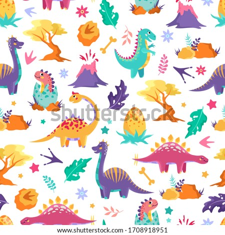 Cute dinosaurs, trees and volcanoes on a white background. Children's colorful print, seamless pattern Stock foto ©