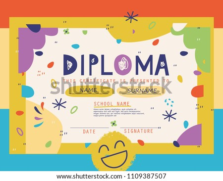 Cute Diploma template for kids.Vector illustration.