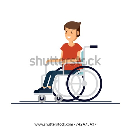 Cute disabled boy kid sitting in a wheelchair. Handicapped person. Colorful flat style cartoon vector illustration.