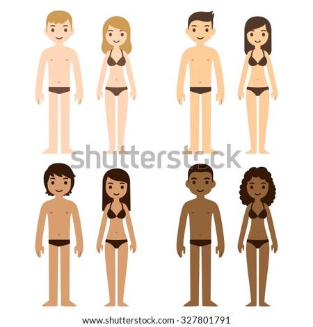 cute diverse men and women in