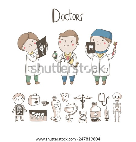Cute Doctor, X-ray inspector, Dentist and medical equipment and symbols around them isolated on white background. Medicine vector set.