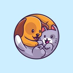 Cute Dog And Cat Cartoon Vector Icon Illustration. Animal Wildlife Icon Concept Isolated Premium Vector. Flat Cartoon Style