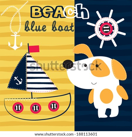 cute dog blue boat on the beach vector illustration
