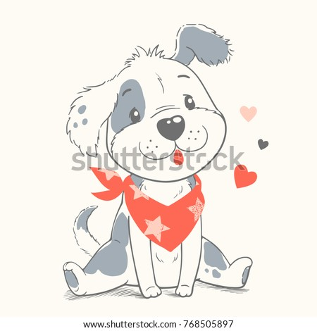 Cute dog cartoon hand drawn vector illustration. Can be used for t-shirt print, kids wear fashion design, baby shower invitation card.