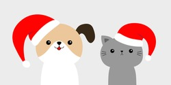 Cute dog cat face in red Santa hat. Merry Christmas. Funny kawaii doodle baby animal. Cute cartoon funny character. Puppy and kitten set. Pet collection. Flat design. White background. Vector