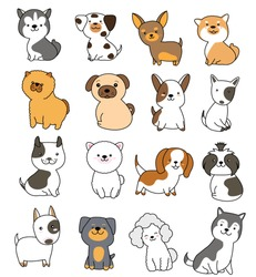Cute dog collection hand drawn style for printing,greeting card,badge,happy birthday, t shirt,banner,product.vector illustration