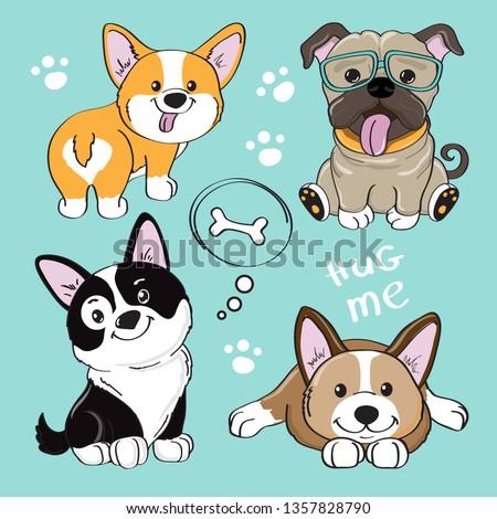 Cute dog collection on a blue background. Dog corgi, pug, Border Collie