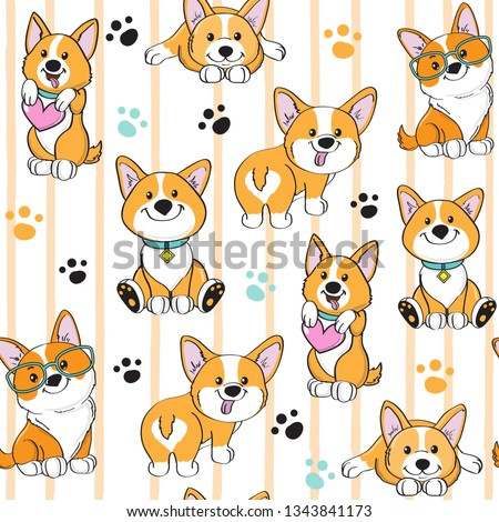 Cute dog corgi on a striped background seamless pattern