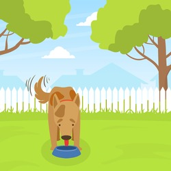 Cute Dog Eating Dog Food on Lawn in Backyard on Beautiful Summer Landscape Flat Vector Illustration