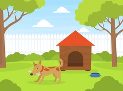 Cute Dog Gnawing Bone on Green Lawn Near Doghouse in Backyard, Beautiful Summer Landscape Flat Vector Illustration