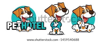 Cute dog holding a big signboard, Cute dog mascot series. Dog wears tuxedo with bowtie. Dog waving hand. Pet hotel -  vector illustration mascot logo