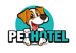 Cute dog holding a big signboard, pet hotel vector illustration logo