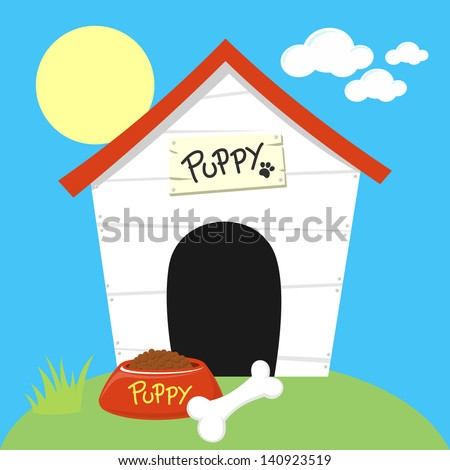 cute dog house with dog food