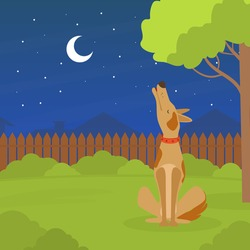 Cute Dog Howling at the Moon at Night, Pet Animal Sitting on Green Lawn in Backyard Flat Vector Illustration