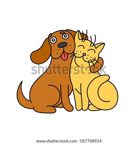 cute dog hugs cat funny