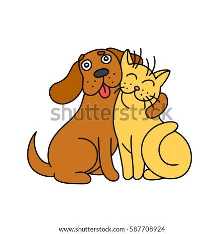 cute dog hugs cat funny