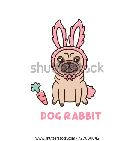 Cute dog of pug breed in a rabbit costume. It can be used for greeting card for Easter, sticker, patch, phone case, poster, t-shirt, mug and other design.