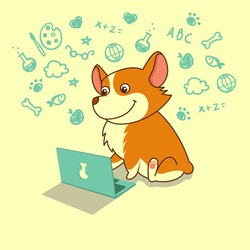 Cute dog of welsh corgi learning with laptop. Vector illustration. For cards, calendars, posters.