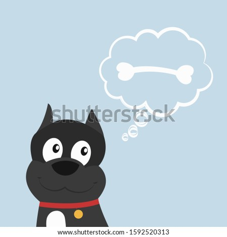Cute dog or puppy thinks about bone. Thoughts bubble. Flat cartoon style vector illustration