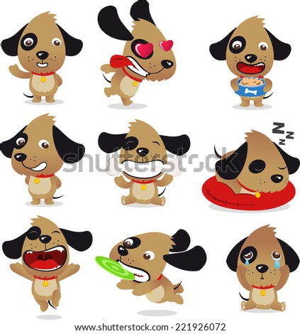Cute Dog Puppy Whelp Pet Kennel Canine Collection, vector illustration cartoon.