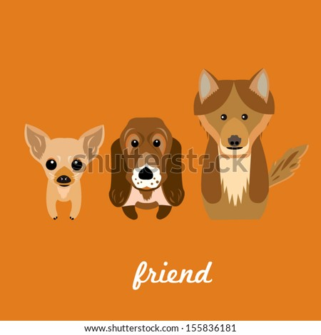 cute dog set friend orange