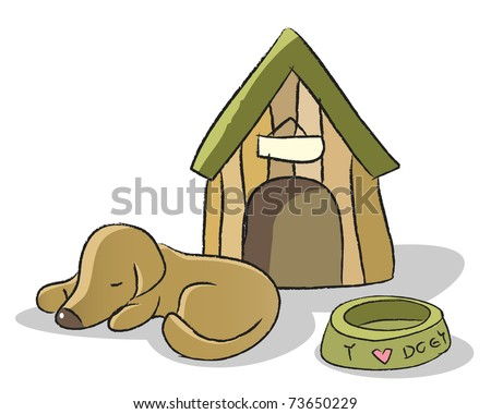 cute dog sleeping illustration