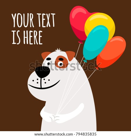 Cute dog with balloons. Greeting card with smiling dog vector illustration