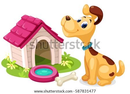 Cute dog with dog house