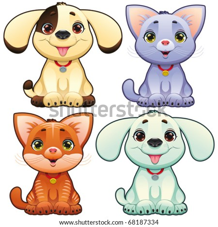 Cute dogs and cats Funny cartoon and vector animal characters isolated objects.