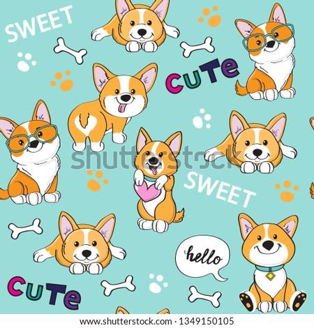 Cute dogs corgi on a blue background seamless pattern