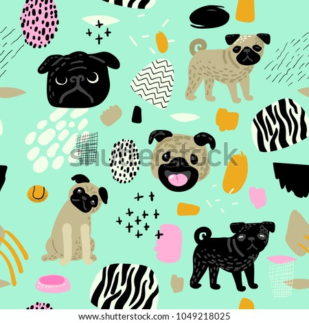 Cute Dogs Seamless Pattern. Childish Background with Pug Puppies and Abstract Elements. Baby Freehand Doodle for Fabric Textile, Wallpaper, Wrapping. Vector illustration
