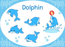 Cute Dolphin Cartoon setIllustration of aquarium fish isolated on a white background.