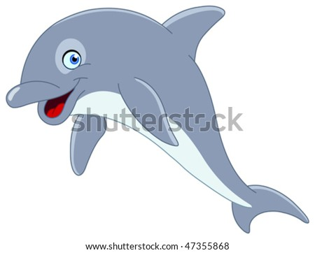 Cute dolphin jumping