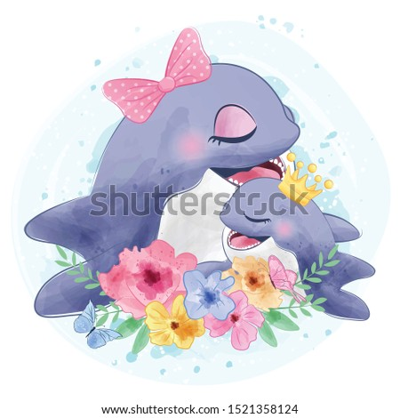 cute dolphin mother and babby