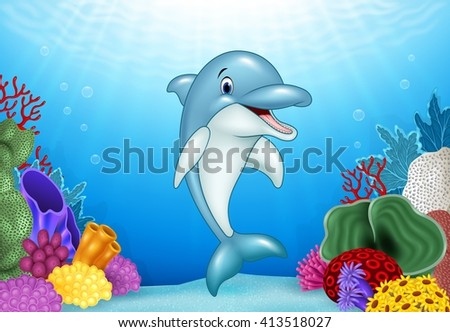 cute dolphin with beautiful