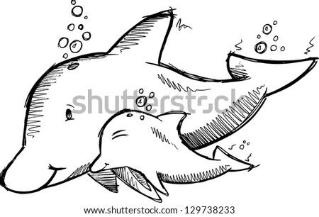 Dolphin Swimming Sketch Cute Dolphins Sketch Vector