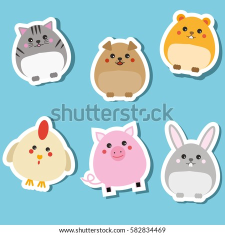 cute domestic animals stickers
