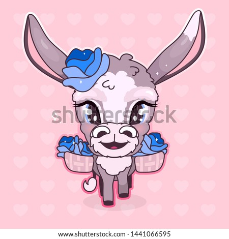 Cute donkey kawaii cartoon vector character. Adorable and funny smiling and happy animal isolated sticker, patch. Anime baby girl mule, burro with blue flowers emoji on pink background