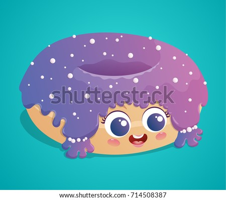 cute donut with purple icing