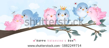 Cute doodle birds for valentine's day ストックフォト ©