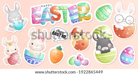Cute doodle bunny for happy easter day sticker Stock foto ©