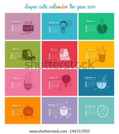 Cute doodle calendar for 2014 in color Week starts from Sunday
