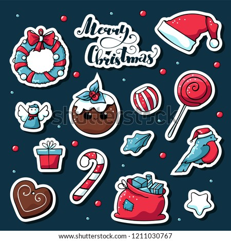 Cute doodle christmas stickers. Vector hand drawn images of candy, candles, star, gift, santa Claus hat, сhristmas cake, gingerbread. Merry christmas lettering.